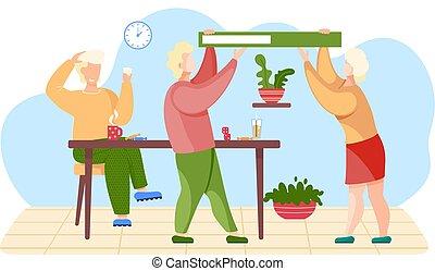 pareja, silla, hands., verde, tarjetas, libro, tipo, tenencia, su, sentado