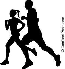 pareja, silueta, jogging