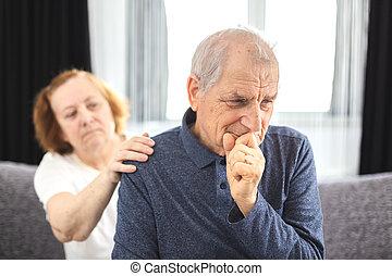 pareja, teniendo, problemas, anciano, comunicación, problemas, conflicto