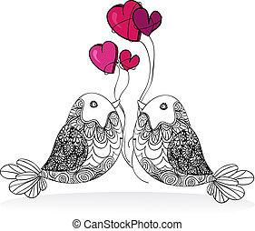 pareja, valentine, amor, aislado, pájaro