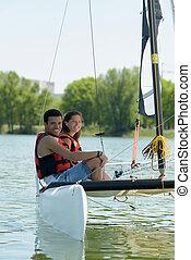 pareja, velero