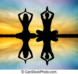 pareja, yoga