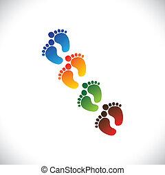 Parejas de patas coloridas del bebé para el jardín de infantes. Esta ilustración puede representar a la escuela de juegos, la guardería o la preescolar de los niños y niños, o centros de cuidados infantiles, etc
