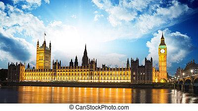 parlamento, ben, anochecer, casa, -, internacional, londres, reino unido, grande, señal, inglaterra, río thames