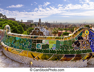 parque, barcelona, guell, spain.