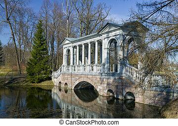 parque, cisne, ekaterinensky, siberiano, galería, otoño, entre, islas, mármol