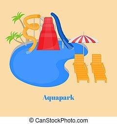 Parque de agua de la familia Cartoon con diapositivas, piscina y chaise-longue bajo el paraguas. Entretenimiento de vacaciones de verano, descanso festivo activo. Atracción extrema de Aqua Park