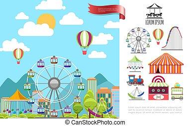parque de atracciones, concepto, plano