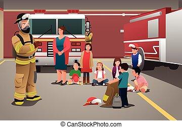 parque de bomberos, visitar, niños