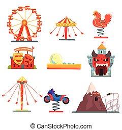 Parque de diversiones con atracciones familiares de dibujos animados coloridos vectores de ilustraciones