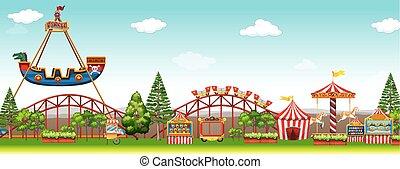 Parque de diversiones con muchos paseos