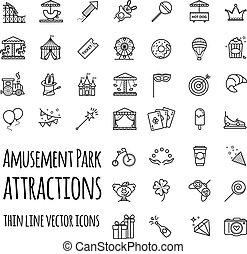 Parque de diversiones, iconos vector de atracción listos