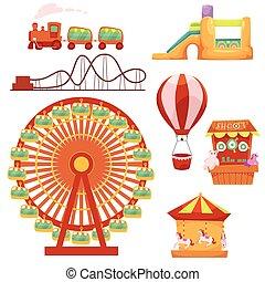 Parque de diversiones, ilustración de vectores de dibujos animados