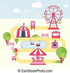 Parque de diversiones, ilustración vectorial