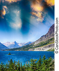 parque del glaciar, nacional, montana, lago