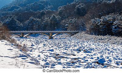Parque nacional Seoraksan en invierno, Corea del Sur.