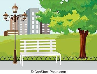 parque, público, vector, ciudad