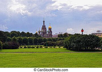 parque, st-petersburg, sangre, salvador, iglesia, russia.