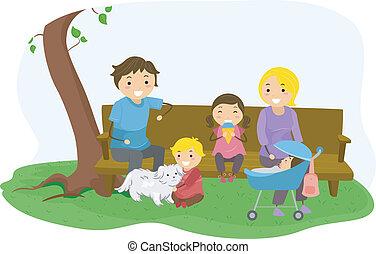 parque, vinculación, stickman, familia