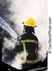 parquede bomberos, afuera, poniendo, bombero
