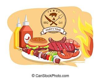 Parrilla BBQ, hora de fiesta, ilustración de vectores de color