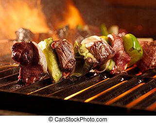 parrilla, carne de vaca, shishkababs