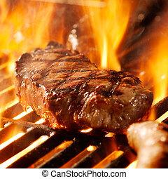 parrilla, filete, carne de vaca, flames.