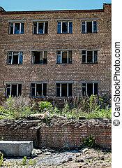 parte, fábrica, ladrillo, roto, rojo, vidrio., imagen, edificio, abandonado