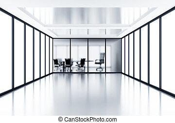 parte, habitación, reunión, moderno, vidrio, atrás, cubículo, vacío