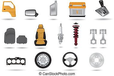 partes, coche, detallado, ilustraciones