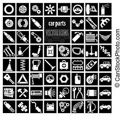 partes, coche, herramientas, accesorios