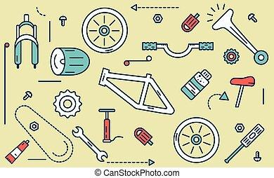 partes, illustration., bicicleta