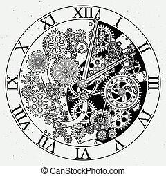 parts., mecanismo, vector, reloj, cogwheels., ilustraciones, reloj