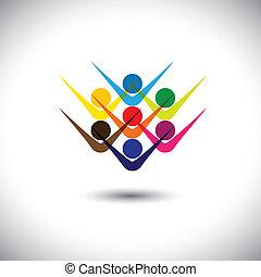 partying, concepto, representar, resumen, y, gente, también, excitado, lata, colorido, juego, ilustración, gráfico, children., regocijado, niños, personal, esto, empleados, etc, vector, amigos, feliz, o