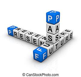 pasado, crucigrama, futuro, presente, y