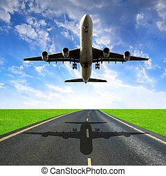 pasajero, aterrizaje del aeroplano
