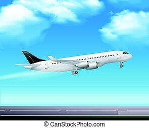 pasajero, despegue, airliner, realista, cartel