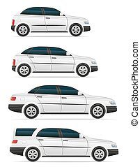 pasajero, diferente, conjunto, iconos, coches, vector, illustrati, cuerpos