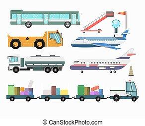 pasajero, servicio, iconos, vehículos, aeropuerto, vector, aviones