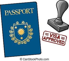 Pasaporte, visa aprobada