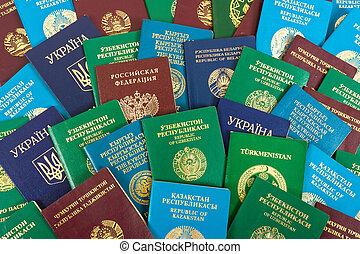 pasaportes, diferente, plano de fondo, extranjero