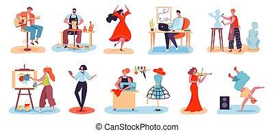 pasatiempo, alfarero, caracteres, mujeres, músico, artístico, hombres, conjunto, creativo, su, vector, el gozar, artista, profesiones, diseñador, personas., sculptor.