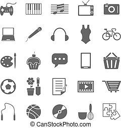 pasatiempo, fondo blanco, iconos