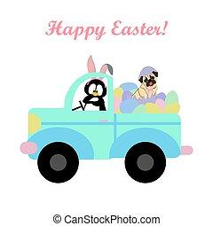 pascua, coche, pingüino, pud, huevos