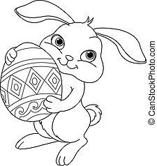 pascua, colorido, página, bunny.