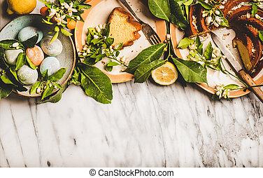 pascua, copia, flor, ramas, té, huevos, limón, espacio, pastel