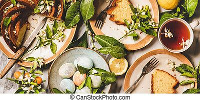 pascua, flor, ramas, de par en par, té, huevos, limón, composición, pastel