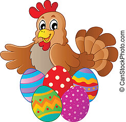 pascua, gallina, vario, huevos