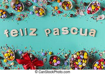 pascua, plano de fondo, huevos, festivo, chocolate, dulces