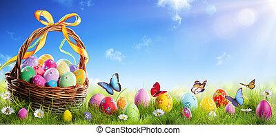 pascua, soleado, pasto o césped, huevos, pintado, cesta, plano de fondo, primavera